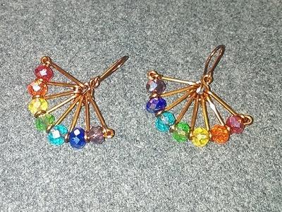 Wire fan earrings - How to make wire jewelery 238