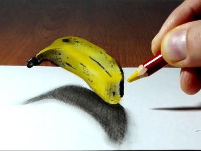 Banana 3D Trick Art on Paper long version