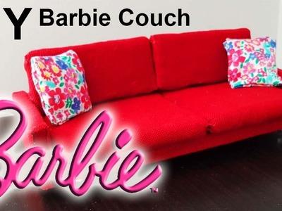Barbie couch DIY! How to make Barbie doll sofa كيف نصنع كنبة باربي - أريكة و أثاث بيت باربي