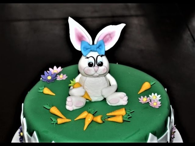 Cake decorating tutorials - how to make a fondant Easter bunny figurine - Sugarella Sweets