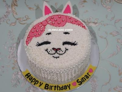CAT CAKE TUTORIAL EASY - HOW TO MAKE BIRTHDAY CAKE! CARA MEMBUAT KUE ULANG TAHUN