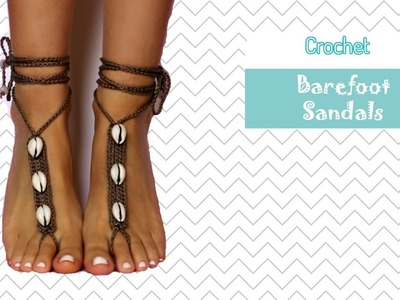 Coffee Bean Shell Barefoot Sandals - Crochet pattern tutorial with written instructions!