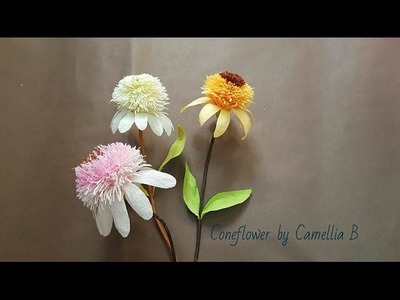DIY craft tutorials- How to make Coneflower by crepe paper