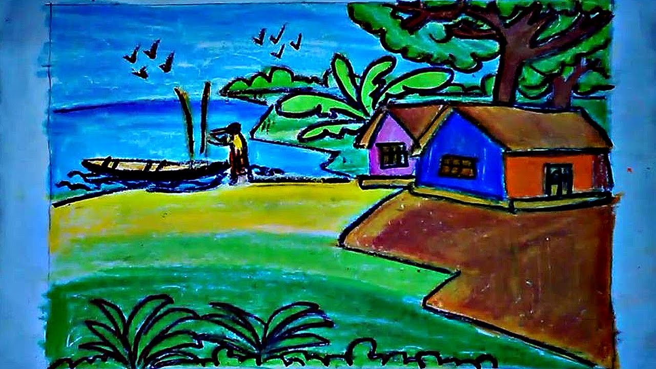 Draw A Simple Village Scene How To Easy Drawing Video Tutorial For Kids
