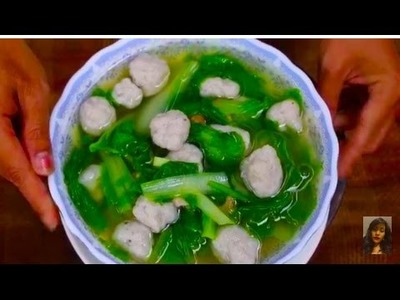 Family Healthy Food, How To Make Fresh Fish Ball Soup With lettuce
