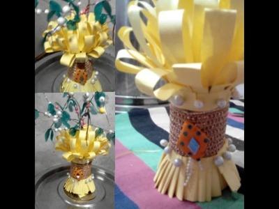 Flower pot or guldasta using chart paper and plastic bottle DIY