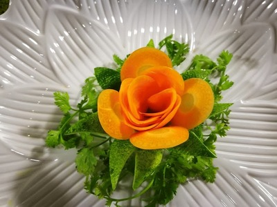 How to design cucumber & carrot in to flower   vegetable carving