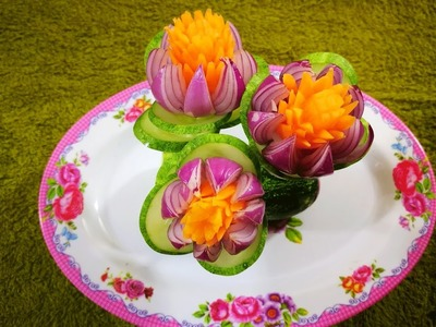 How to design cucumber carrot shallots in to flower   vegetable art