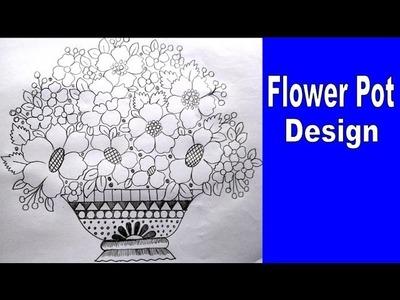 How to do flower design for Kids    flowerpot