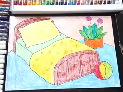 How to draw a bed room for kids coloring a bed room for kids