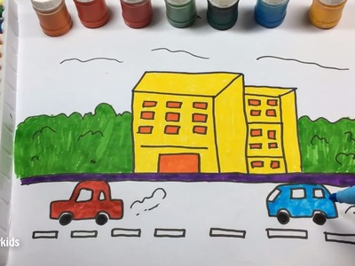 How to draw a high building , a running car and trees - How to color them with cute colors