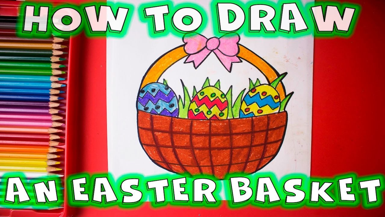 How to Draw an Easter Basket with Easter Eggs Inside