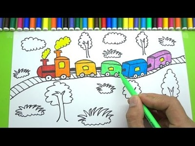How to Draw and Color Rainbow Train and Tree for Kids