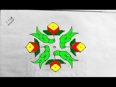 How to draw bird with flower Rangoli, Kolam, Muggulu (13-1)