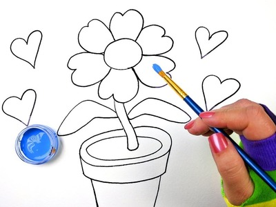 How to Draw Color and Paint Flower Pot Coloring Page for Kids to Learn Coloring step by step drawing