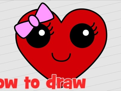 How to draw Cute heart step by step Kawaii smiley face with bow