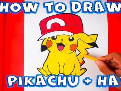 How to Draw Pikachu With Ash's Hat Step by Step
