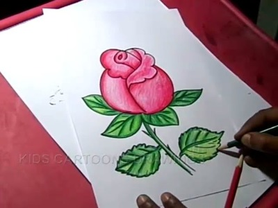 How to Draw Rose Flower Drawing for kids step by step for Kids