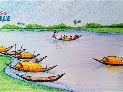 How to draw  scenery of Ferry terminal. kheya ghat