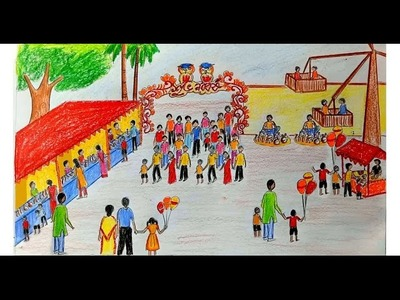 How to draw scenery of Pohela Boishakh. village fair step by step