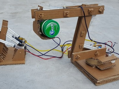 How To Make A Syringe Operated Hydraulic Excavator from Cardboard