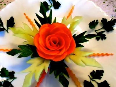HOW TO MAKE CARROT ROSE FLOWER - CUCUMBER GARNISH LEAF & VEGETABLE CARVING - ART IN CUCUMBER