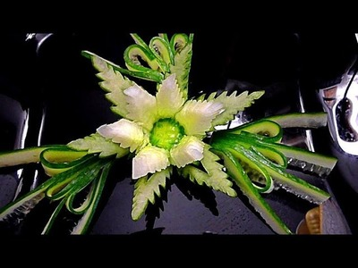 HOW TO MAKE CUCUMBER FLOWER - GARNISH DESIGN & VEGETABLE CARVING - HOW TO CUT CUCUMBER