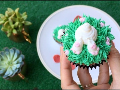 How to Make Cupcakes: Cute Easter Bunny Butt With Grass and Flowers