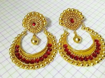 How To Make Designer Earrings. Chandbali Earrings. Paper Jewellery Making.DIY