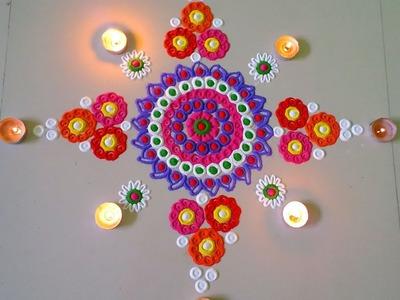 How to make easy colour ful rangoli design