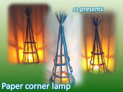 How to make news paper corner led hanging lamp.Best out of the waste news paper lamp