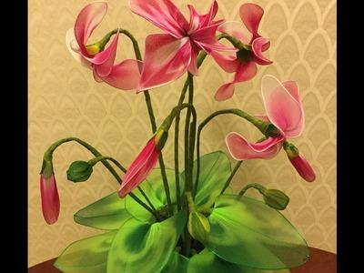 How to make nylon stocking flowers - Cyclamen