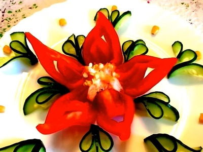 HOW TO MAKE PEPPER FLOWER - CUCUMBER DESIGN GARNISH & VEGETABLE CARVING - ART IN PEPPER