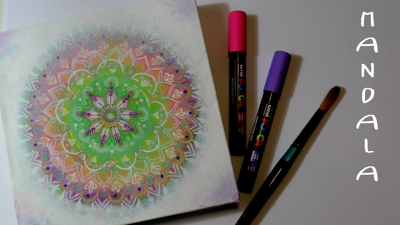 How to paint a MANDALA on canvas with markers * meditation on canvas #01