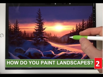 HOW TO PAINT REALISTIC LANDSCAPE 2: Snow sunset painting tutorial iPad Pro + Apple Pencil