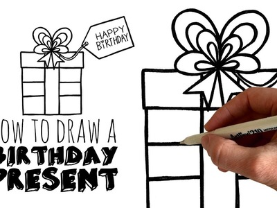 How to Sketch and Draw a Cartoon Birthday Present - zooshii Style