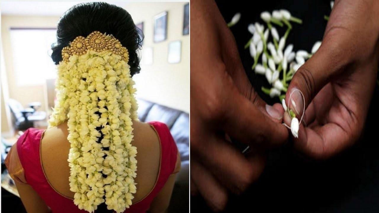 How to string jasmine flower garland how to string flower mogra gajra izmirmasajfo