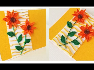 Paper Quilling Flower Card For beginner Learning Video 11. Paper Flower Card
