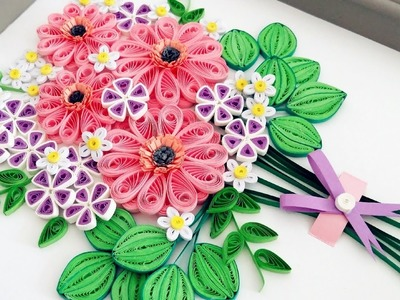 Paper Quilling Flower For beginner Learning Video 9.Paper Flower Card