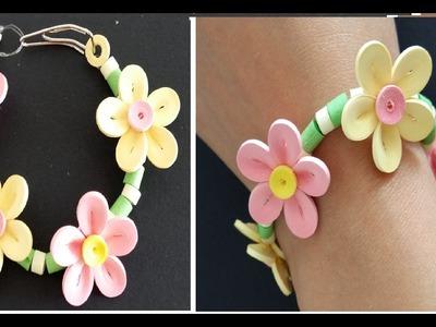 Quilling Bracelet Learning Video 1. Paper Bracelet. Flower Bracelet