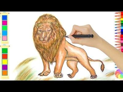 Vẽ Con Sư Tử 3D - Cách Vẽ Con Vật - Vẽ Tranh Thiếu Nhi - Lamdepchobe TV