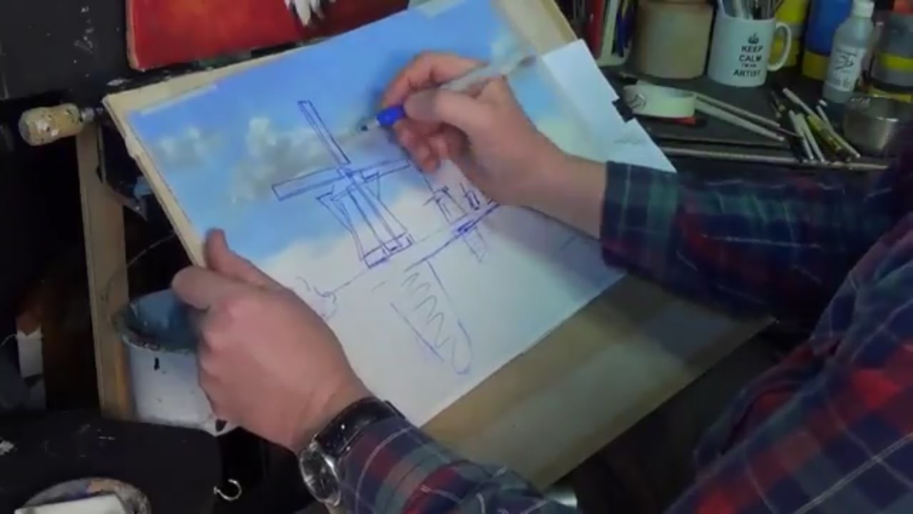 Very Easy!! How To Draw a windmill on tracing paper for beginners acryilic painting