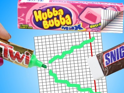 10 DIY School Supplies {Easy}! Weird DIY Crafts - Hacks w. Candy! Mini Notebook, Pens…Cool DIYs