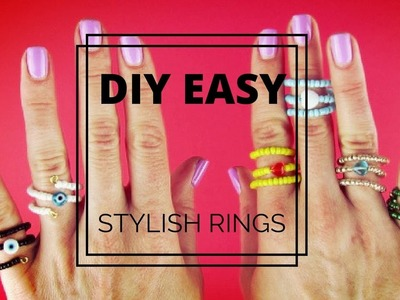 2 EASY DIY RINGS   Adjustable Wire and Beads Rings  Beginner's Crafts Kids Crafts