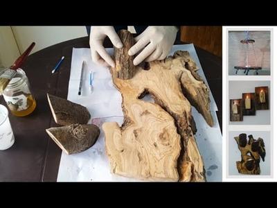 3 Easy DIY Log Candle Holder