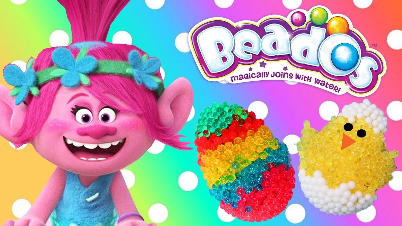 Beados DIY Easter Eggs + Trolls Movie Poppy Easter Basket Surprise Toys Colors Crafts for Kids