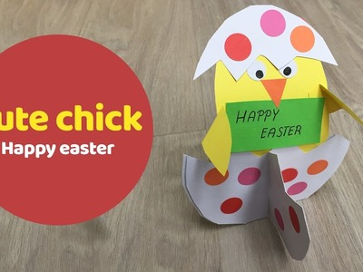 Cute chick in a shell, easy Easter DIY for kids.