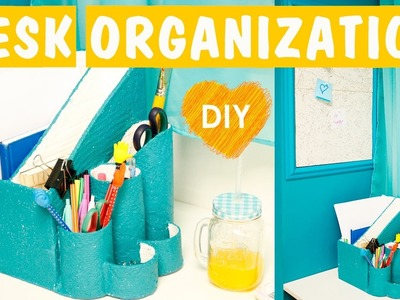 Desk organization DIY | DIY Pin Board + Organizer for papers and pens