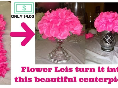 DIY affordable centerpiece Fabric Flower Leis dollar tree $4 only