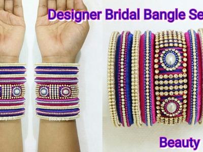 DIY | Beautiful Designer Bridal Bangle Set Making At Home|Bridal Silk Thread Bangles